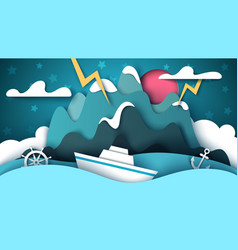 Cartoon paper landscape sea mountain ship vector