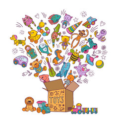 Childrens box for toys doodle pictures vector