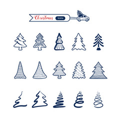 christmas tree line art icons set christmas vector image