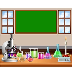 Classroom full of science equipment vector image