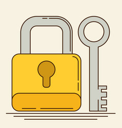 Closed lock with key flat vector