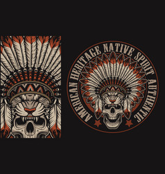 colour with a skull in indian headdress vector image