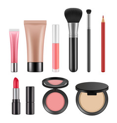 cosmetic packages various realistic pictures of vector image