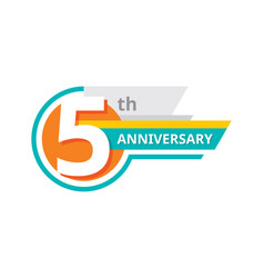 creative emblem 5 th years anniversary five vector image