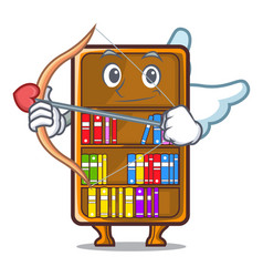 Cupid mascot bookcase beside the study desk vector