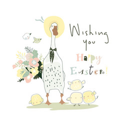 Cute cartoon goose and chicks celebrating easter vector
