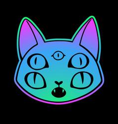 cute cartoon witchcraft cat head vector image