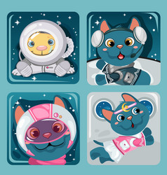 cute poster with little flying cats sample vector image