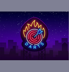 darts logo in neon style neon sign bright night vector image