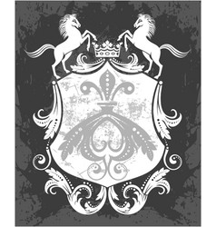 decorative frame with crown and horses vector image