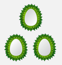 different eggs with leaves vector image