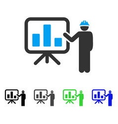 Engineer pointing chart board flat icon vector