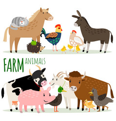 farm animals cartoon characters vector image