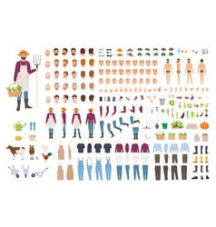 Farmer farm or agricultural worker constructor vector