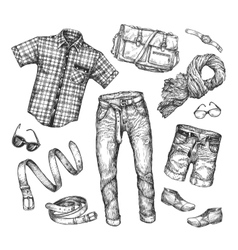 Fashion collection of men clothing Hand vector