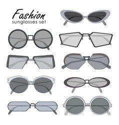 Fashionable sunglasses collection different shape vector