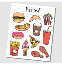 fast food doodles lined paper colored vector image