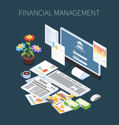 Financial management isometric composition vector