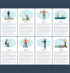 Flyer set including fishing situations with vector