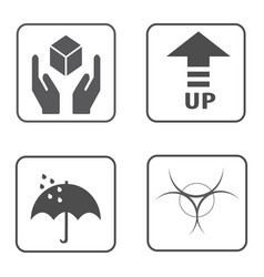 Fragile symbol and packing box icon vector