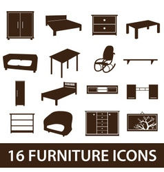 furniture icons eps10 vector image