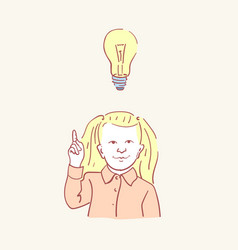 girl idea lightbulb child kid lamp hand drawn vector image