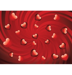 Glossy red hearts vector image