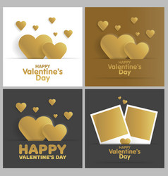 golden greeting card happy valentines day set vector image