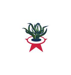 grass and pot logo design inspiration vector image