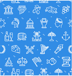 Greece signs seamless pattern background on a blue vector