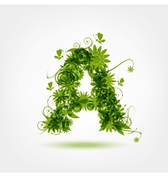 Green eco letter A for your design vector