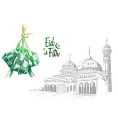 Green traditional indonesian food and mosque hand vector