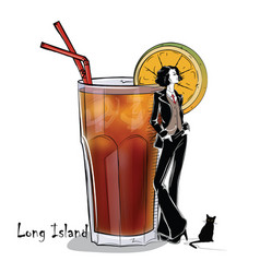 Hand drawn cocktail with girl vector