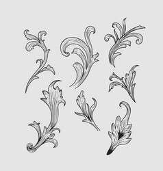 hand drawn engraving retro elements design vector image