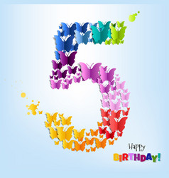 Happy birthday five years postcard vector