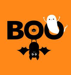 Happy halloween flying ghost spirit hanging bat vector