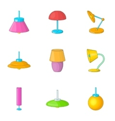 Home decoration lamp icons set cartoon style vector