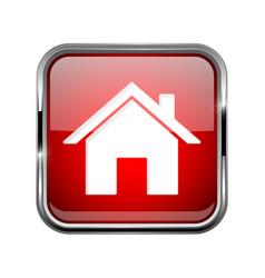 home page icon square red 3d icon with chrome vector image