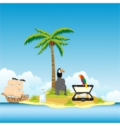 Island in ocean and money vector image