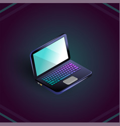 isometric blank laptop isolated on dark vector image