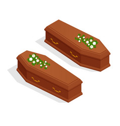 isometric broun closed classical expensive coffin vector image