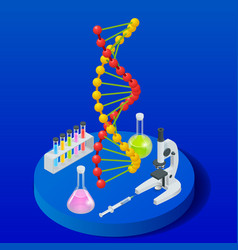 isometric digital dna structure in blue background vector image