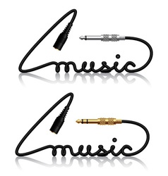 Jack connectors music calligraphy vector
