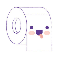 kawaii toilet paper roll in purple blurred vector image