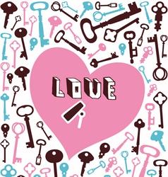 key lock heart background vector image