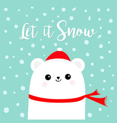 let it snow polar white bear cub wearing red vector image