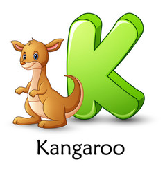 Letter k is for kangaroo cartoon alphabet vector