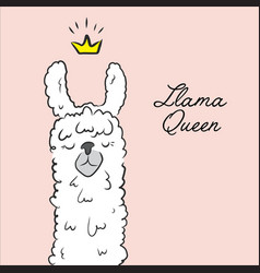 Llama queen drawing animal cute cartoon alpaca vector