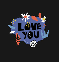 love you flat hand drawn lettering vector image