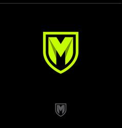 M letter monogram origami ribbon shield vector